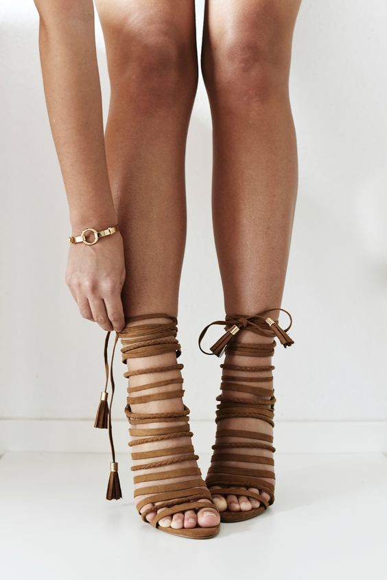 Brown strappy heeled sandals