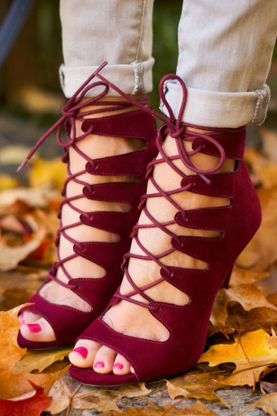 burgundy lace up heels