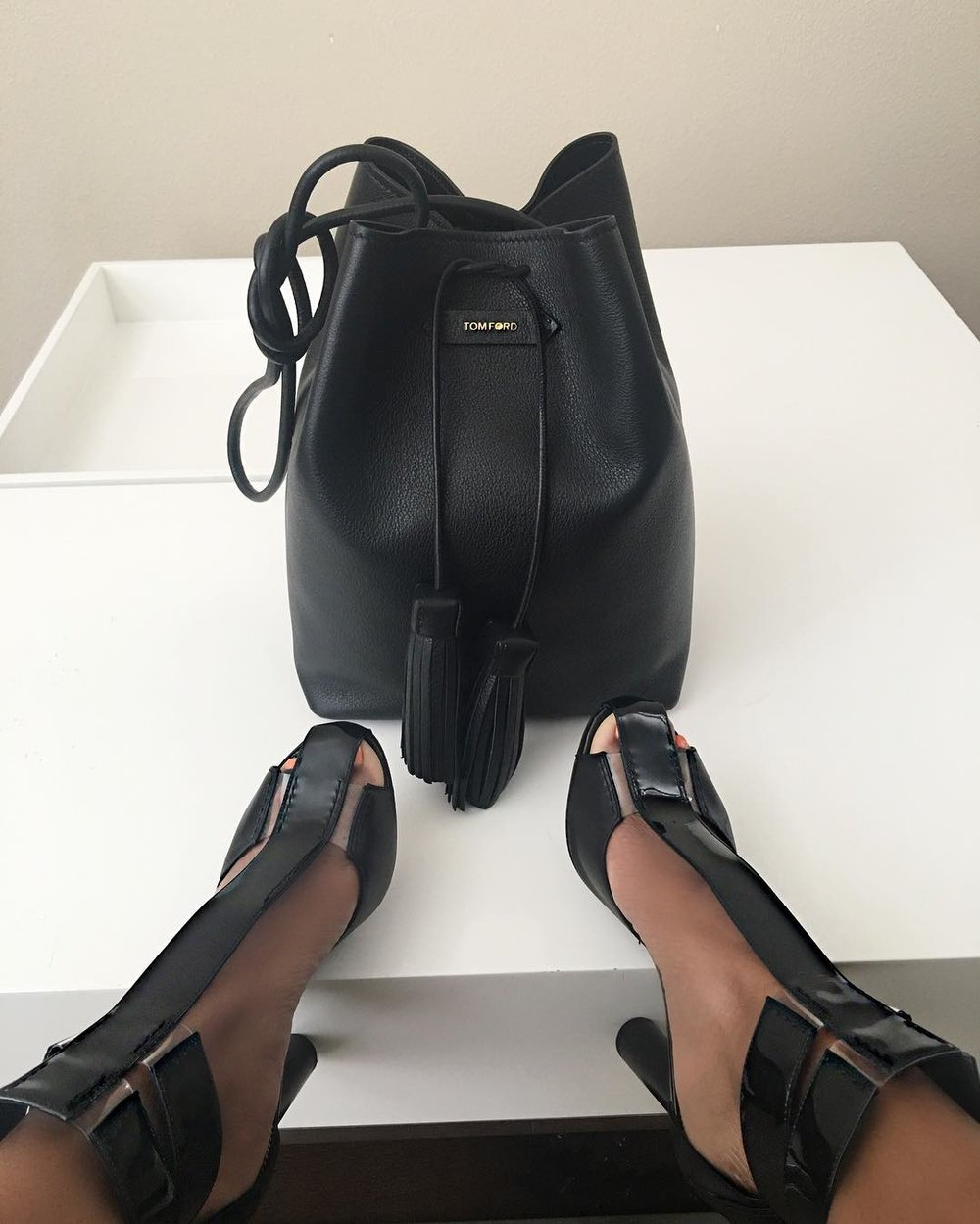 Tom Ford bag and Heels