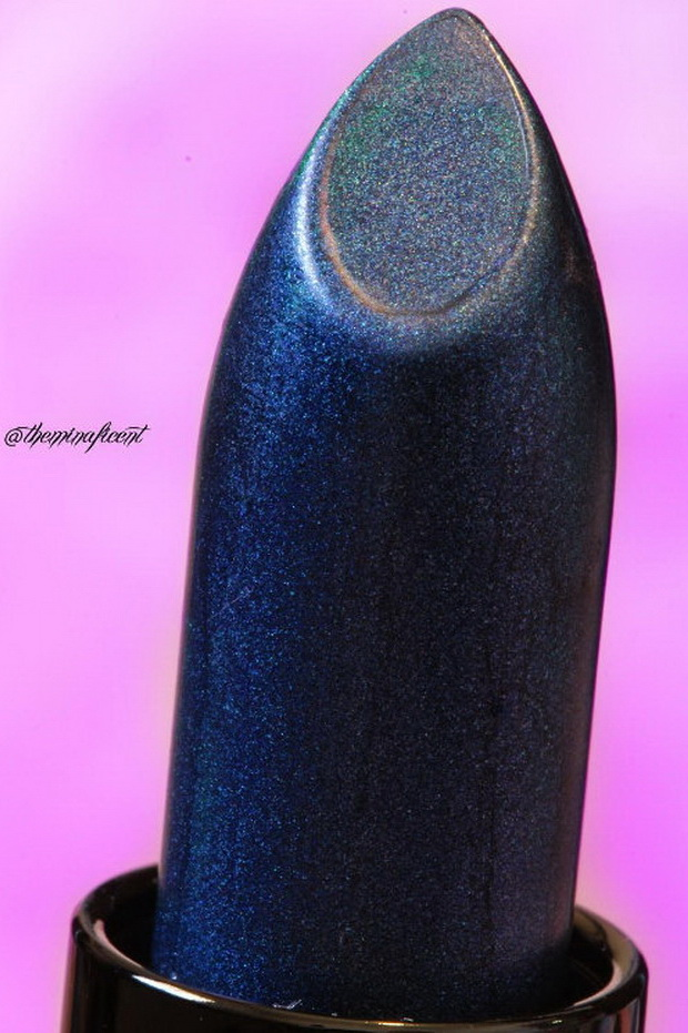 "Up close of @limecrimemakeup Perlees Lipstick in ""Denim"""