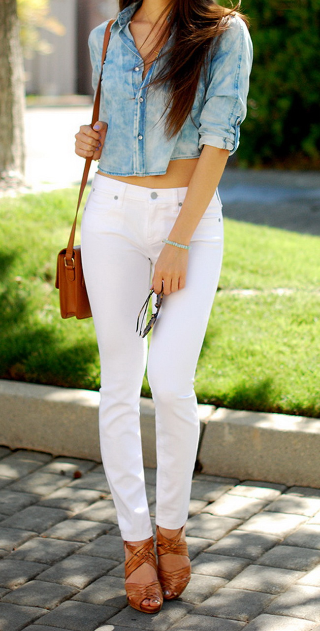 chambray shirt with white jeans @hapatimee www.hapatime.com