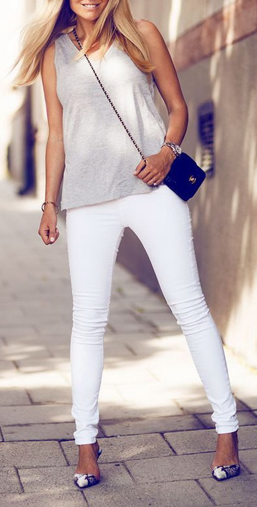Summer white jeans style
