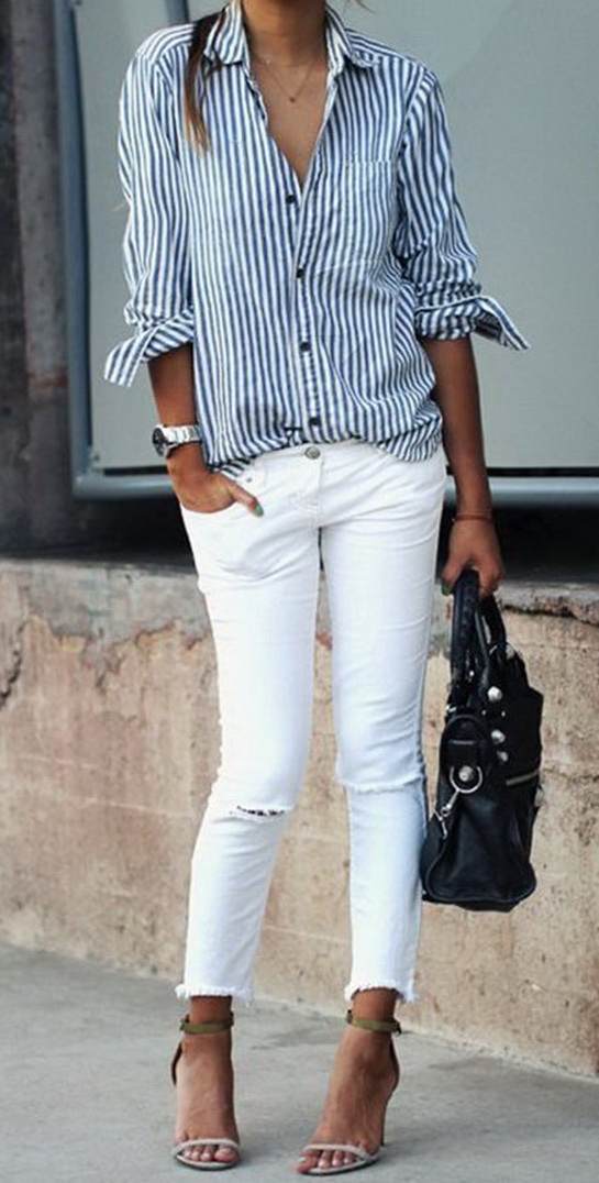 A striped button down, white jeans and heels www.sincerelyjules.com