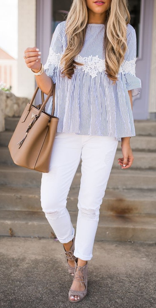 White Denim & Striped Blouse | The Teacher Diva: a Dallas Fashion Blog featuring Beauty & Lifestyle