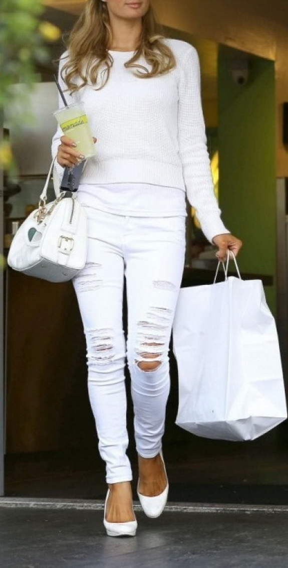 Paris Hilton All White Outfit