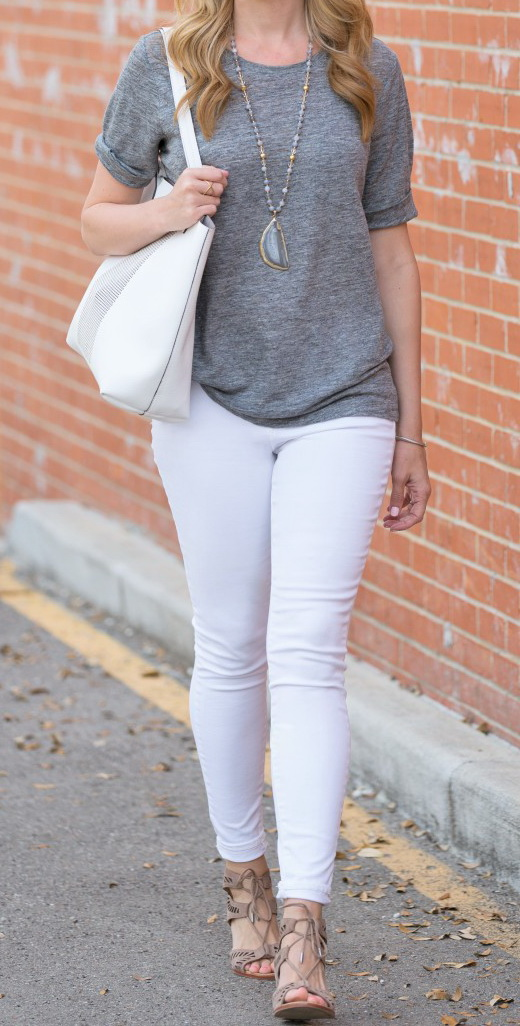 Gray T Shirt and White Jeans - Haute & Humid http://www.hauteandhumid.com