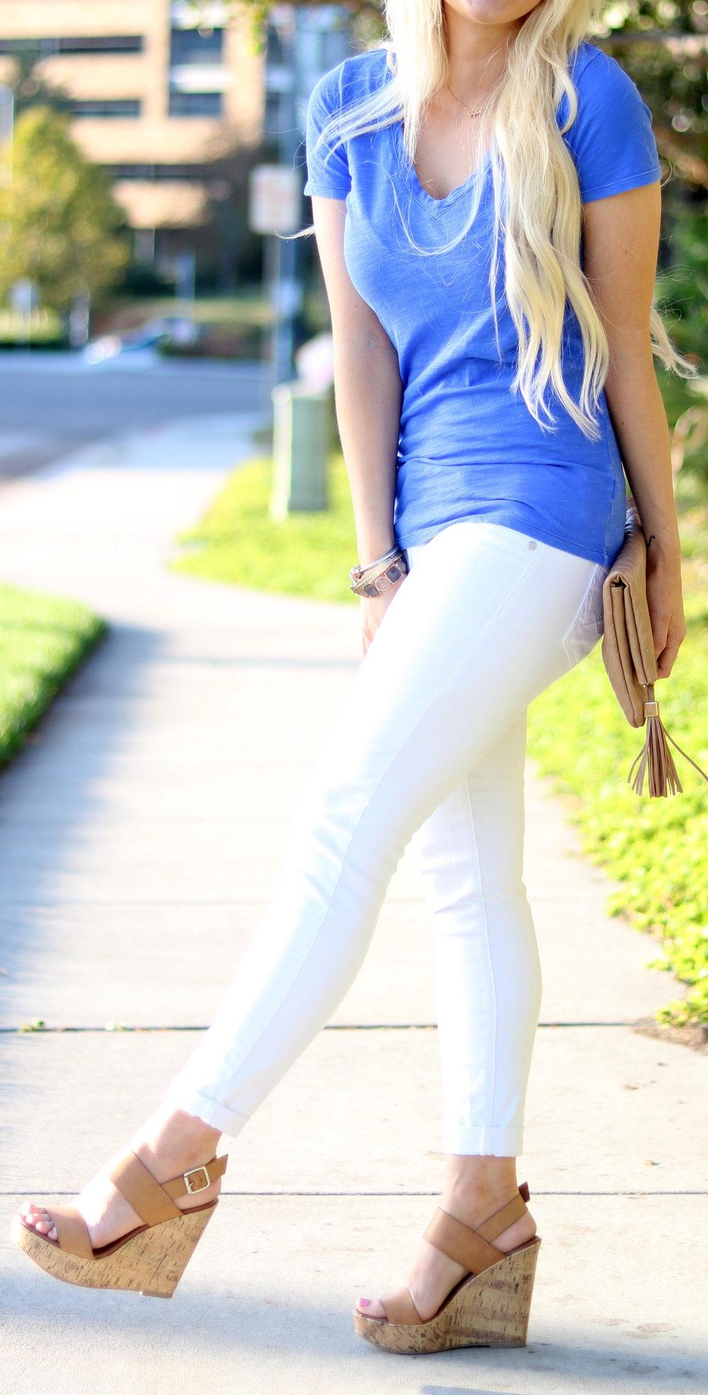 BLUE T SHIRT: similar here | WHITE JEANS: Jessica Simpson | WEDGES: Target | by http://alljessedup.com/