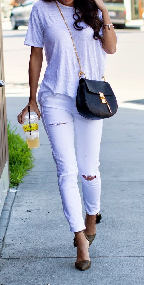 j crew tassel heels, white distressed denim, t by alexander wang top http://www.pursuitofshoes.com