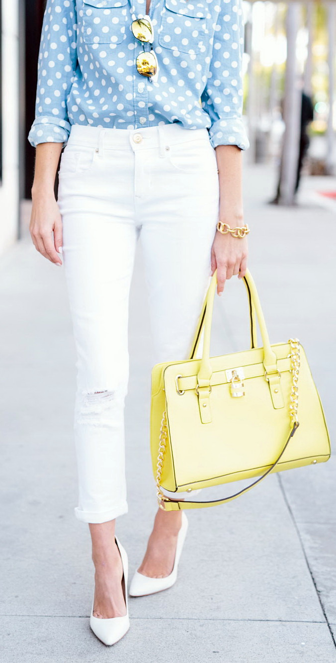 white skinnies outfit by Sydne Style http://www.sydnestyle.com