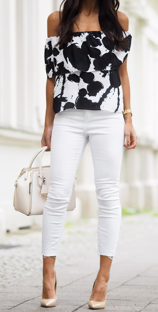 White jeans can also make a perfect match to a more formal top, like this