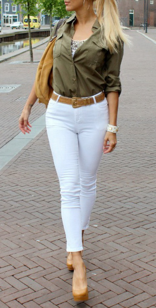 White jeans beige top