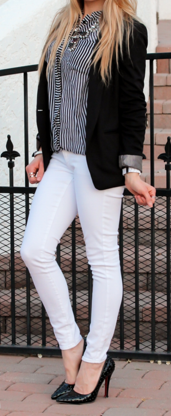 black white stripe outfit white jeans black stud heels http://glamour-zine.com/