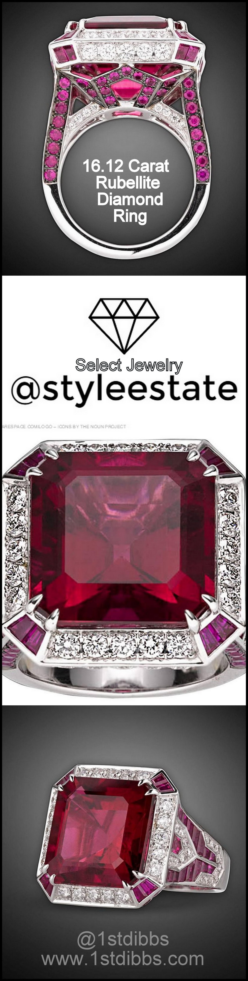 16.12 Carat Rubellite Diamond Ring