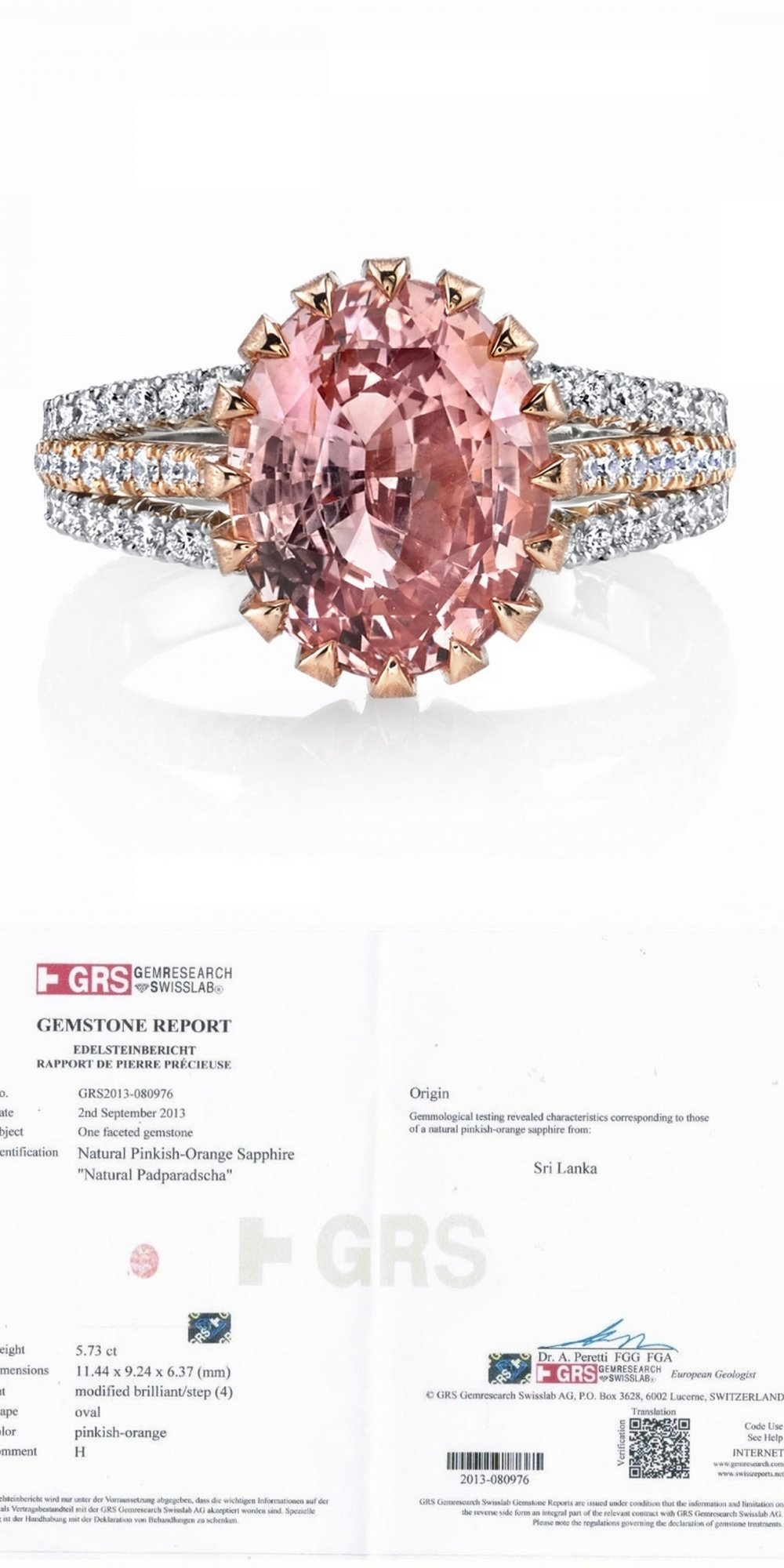5.73CT Oval Sapphire Padparadscha and Diamond Ring