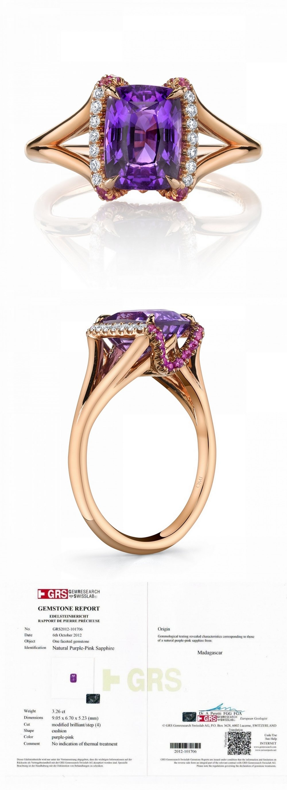 3.26CT Fancy Purple Sapphire and Diamond Ring