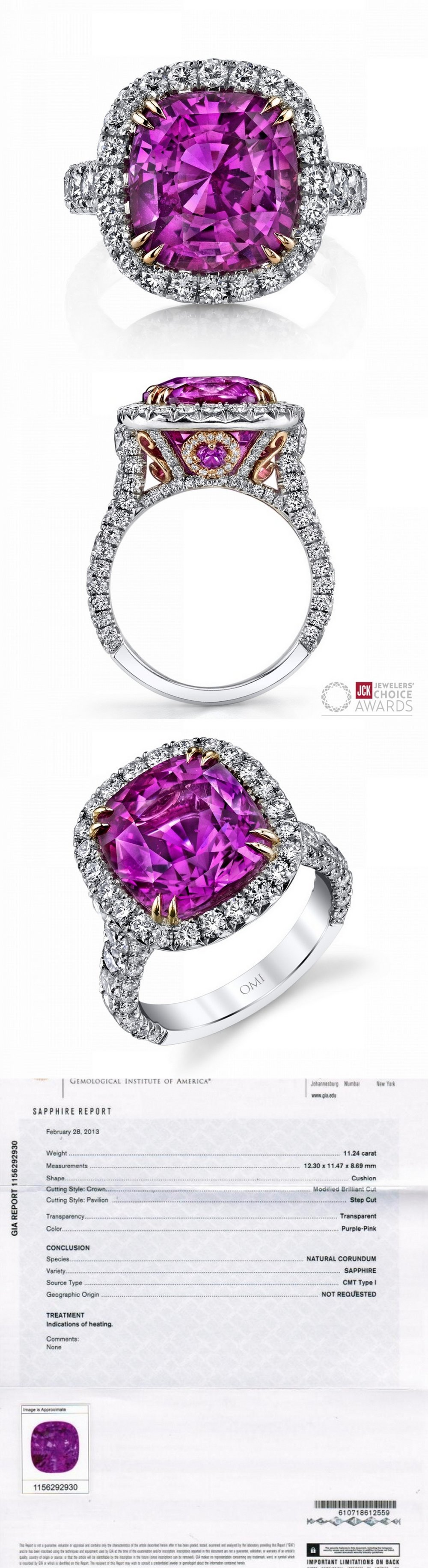 11.24CT Award Winning Pink Sapphire and Diamond Ring