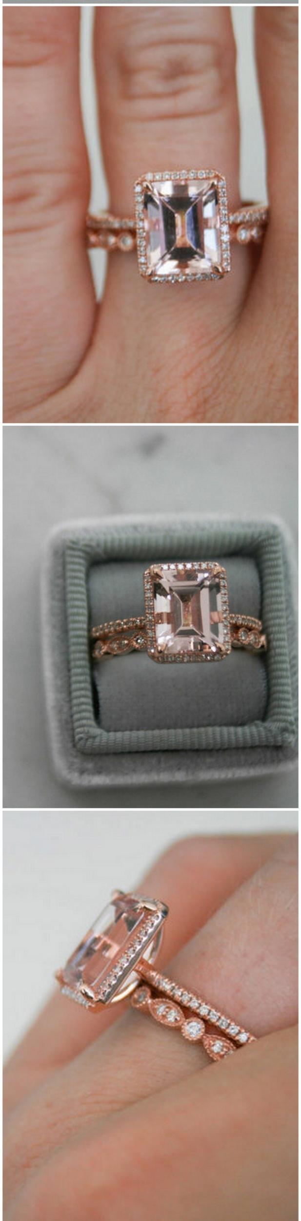Emerald Morganite Ring,Halo Diamond Rose Gold Morganite Engagement Ring, Rose Gold Morganite Ring, Engagement Ring, Morganite