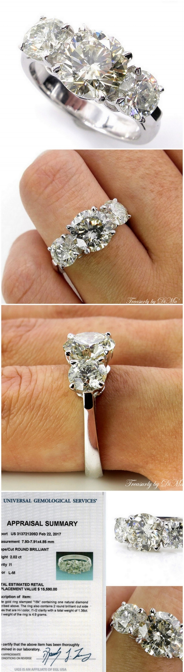 3.38CT Vintage Estate Round Diamond Engagement Wedding Ring