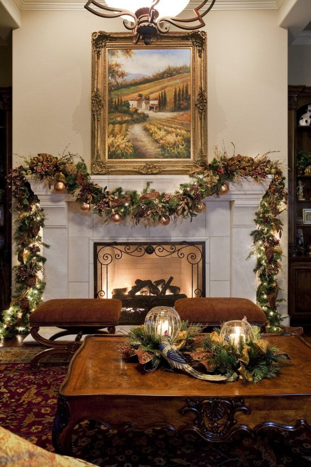Gorgeous Christmas Living Room and Mantle ~  35 Beautiful Christmas Mantels - Christmas Decorating - Style Estate -