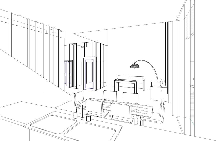 Scheme 3 : Kitchen, living area thin line sketch.