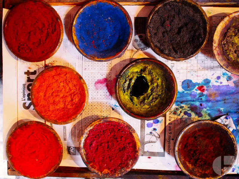 Natural dyes (except the yellow looking one) used to dye wool.