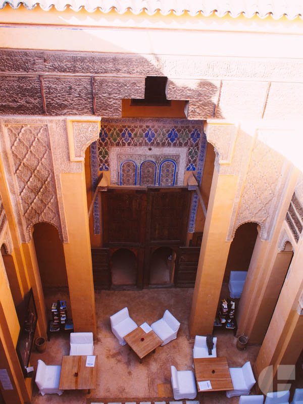 Looking down into the riad where we took a cooking class.