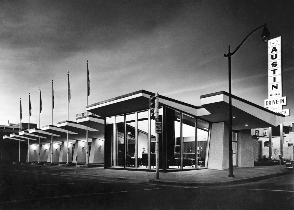 Austin National Bank Drive-In], circa 1961. Image AR.2009.014(171), Austin History Center, Austin Public Library.]