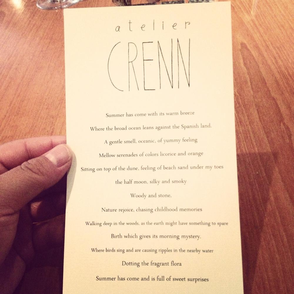 The beautiful menu