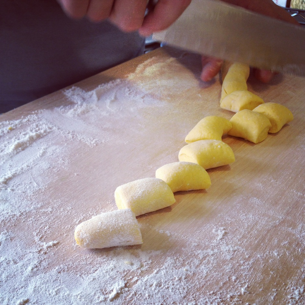Slicing Gnocchi Dough