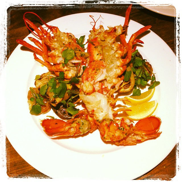Maine lobster, roasted in fireplace, with bone marrow and fennel. Photo credit: @homesteadoakland's Instagram