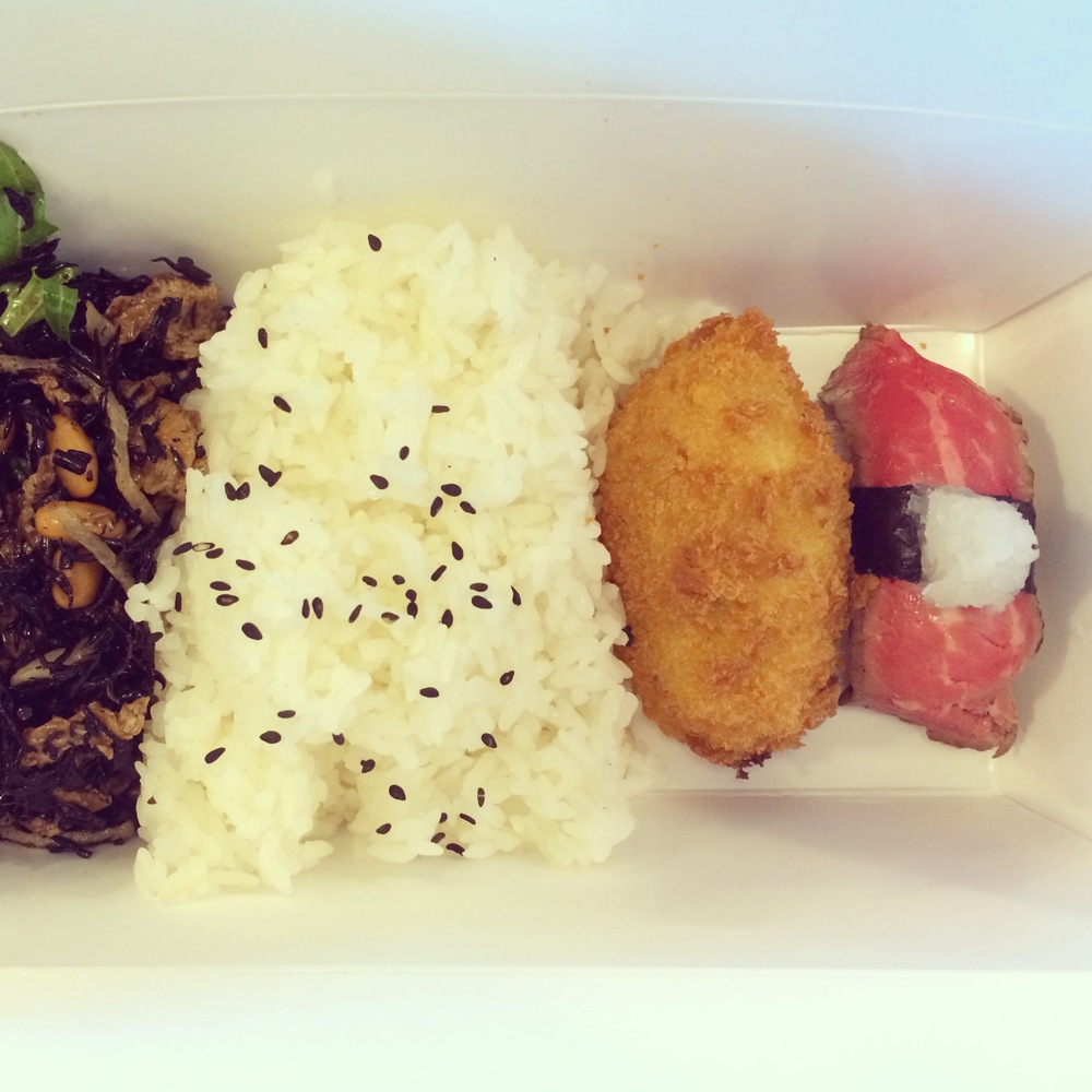 Soybean salad, rice, crab croquette, roast beef roll.