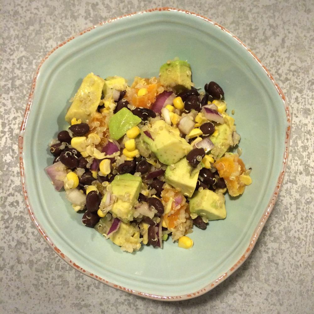 Black Bean Quinoa Avocado Salad with Lemon Vinaigrette Recipe