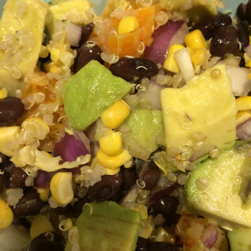 Black Bean Quinoa Avocado Salad with Lemon Vinaigrette Closeup