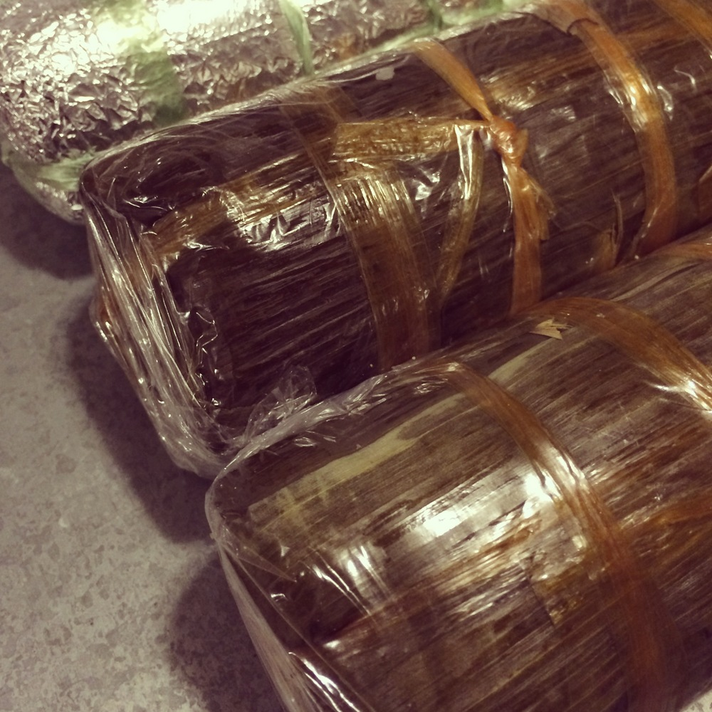 The banh tet is wrapped beautifully.