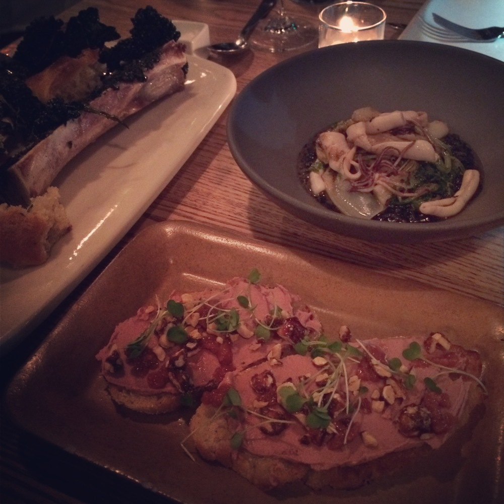 Left: BONE MARROW: kale, black garlic, torn bread. Middle: DUCK LIVER TOAST: fennel, blood orange marmalade, hazelnuts. Right: MONTEREY SQUID: charred onion, black risotto, chicories.