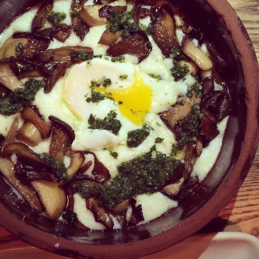 OVEN ROASTED MUSHROOMS: anson mills grits, farm egg, nettles
