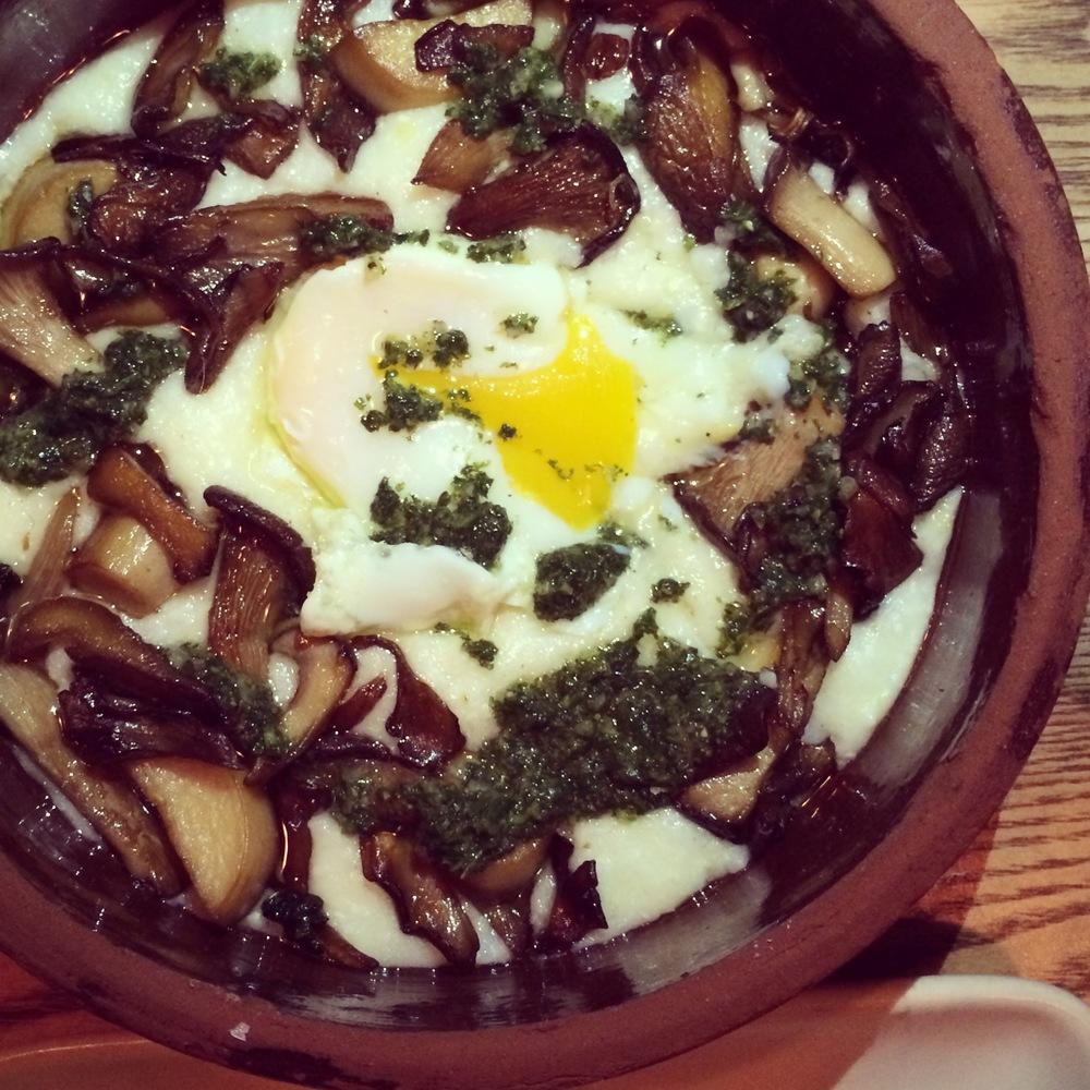 OVEN ROASTED MUSHROOMS: anson mills grits, farm egg, nettles