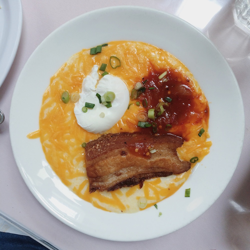 Pork Belly Cheesy Grits & Poached Egg