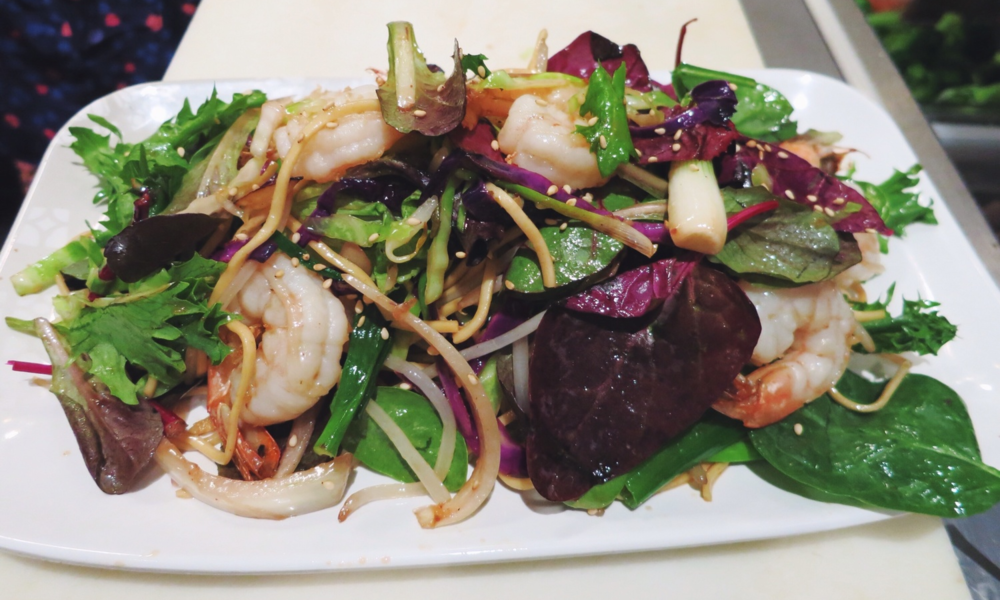 Spring Mix Noodle Salad with Grilled Shrimp
