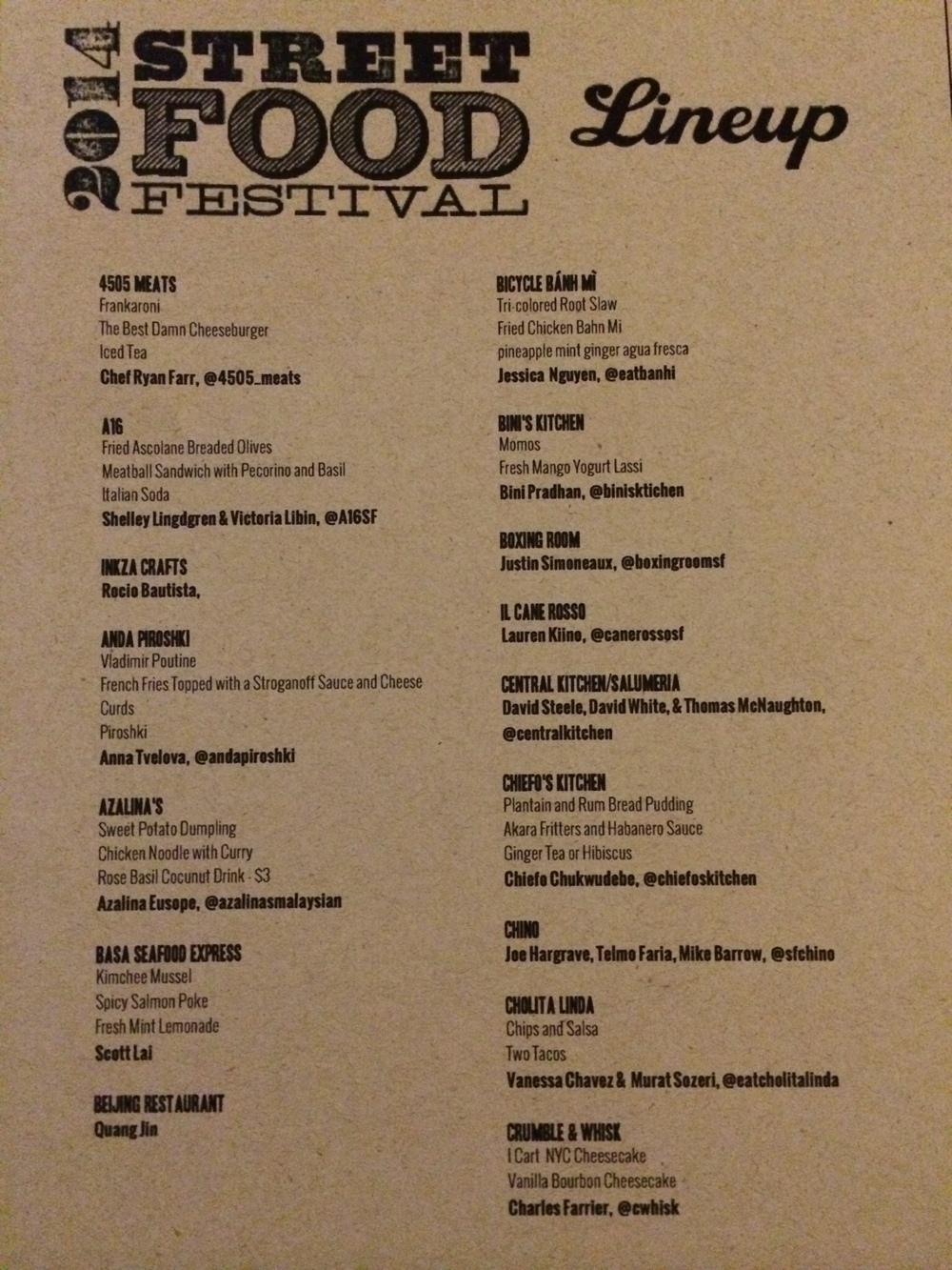 2014 SF Street Food Festival Menu - 1/5
