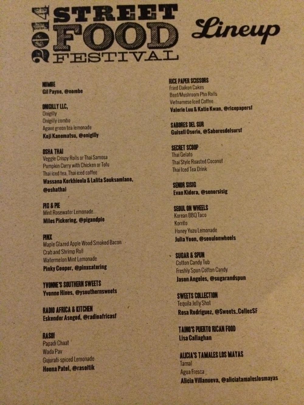 2014 SF Street Food Festival Menu - 3/5
