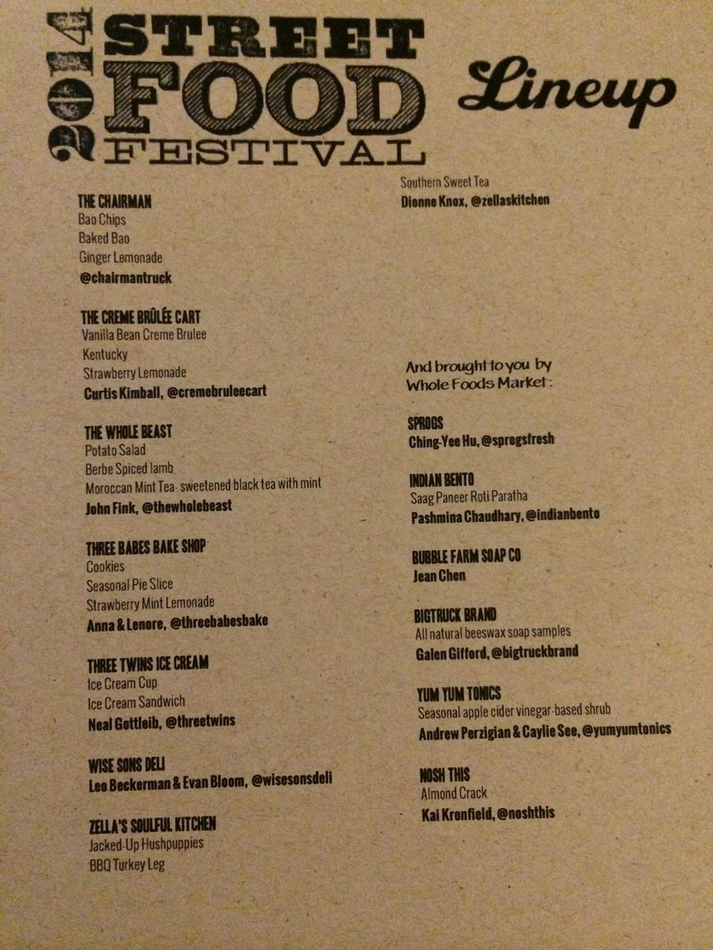2014 SF Street Food Festival Menu - 4/5