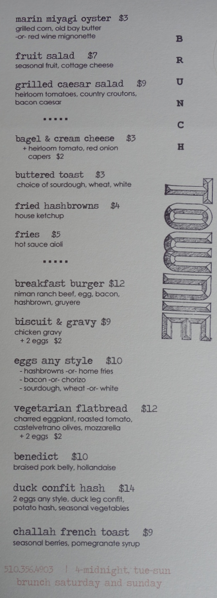 Townie Brunch Menu - Berkeley