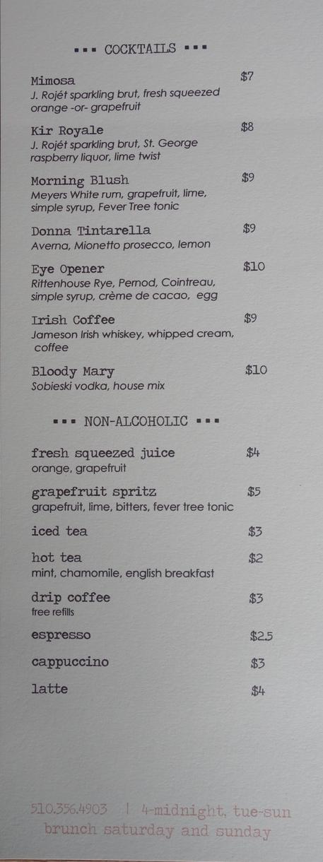 Townie Brunch Cocktail Menu - Berkeley
