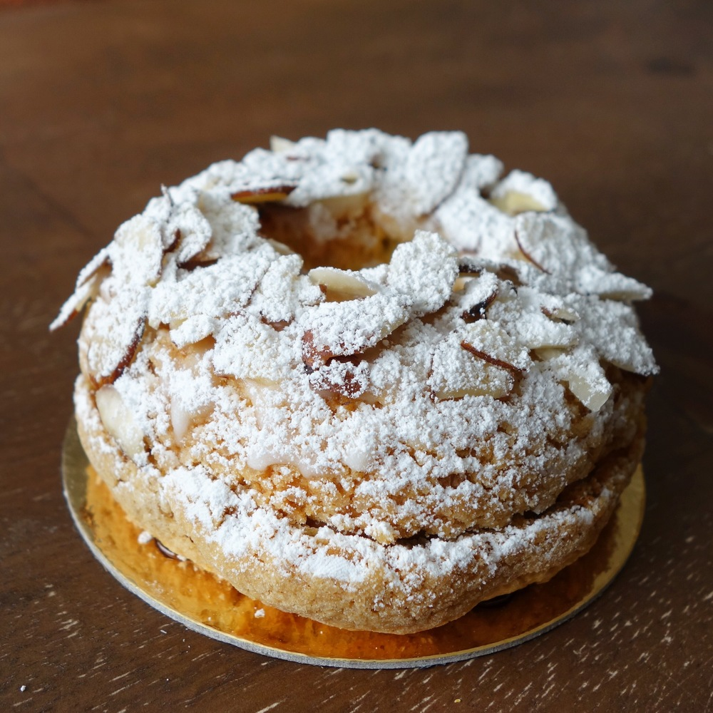 The Paris brest is a tasty traditional French dessert, made of choux pastry filled with traditional hazelnut praline cream. It was a delicious treat.