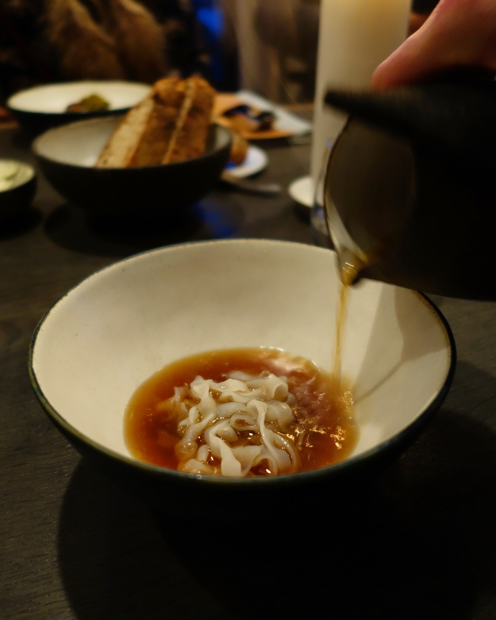 Cured squid, bacon broth and mirabelle plums. The texture of the squid was lovely, like delicate al dente noodles in a sultry rich broth.