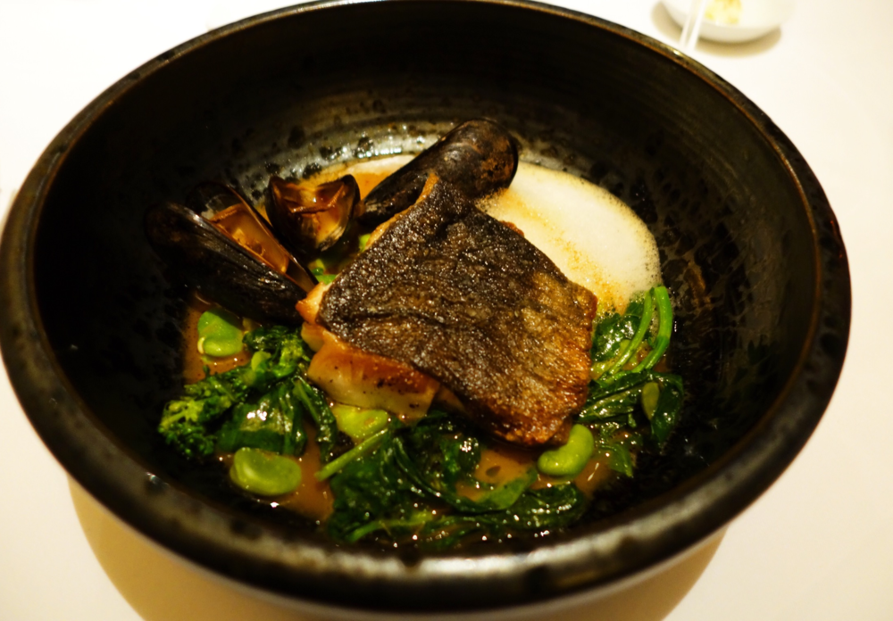 Sablefish from the Farallones fava beans, greens, smoked mussel escabeche