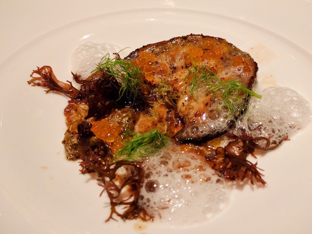 Cayucos Abalone house cultured brown butter and white balsamic seafoam