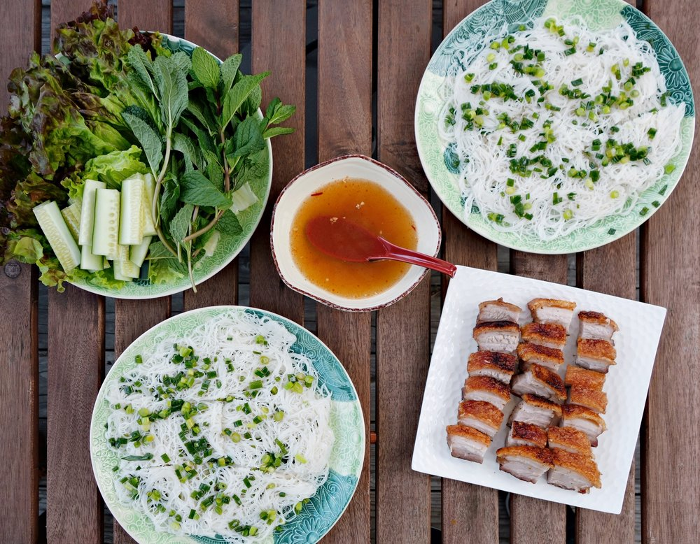 Recipe: Banh Hoi and Thit Heo Quay (Vietnamese Steamed Woven Rice Vermicelli and Crispy Roasted Pork Belly)
