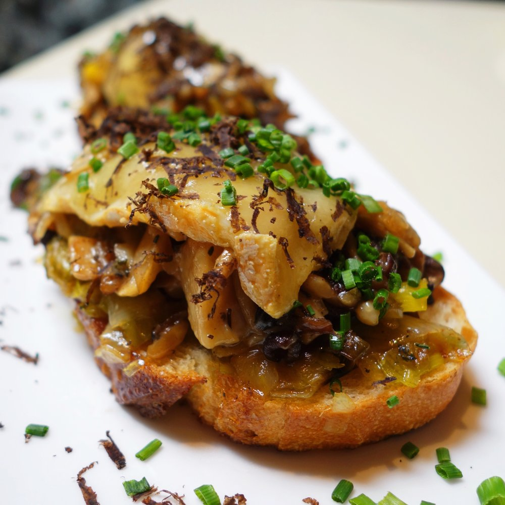 A visit to Shakewell is worth it for this mushroom toast alone. It is one of the best things I've ever put into my mouth. Rich and indulgent mushroom toast with funky creamy and oozy red hawk cheese, Himalayan truffles, melted leeks, and chives. Each bite is full of bold flavors. It's buttery, nutty and subtly sweet from the melted leeks and caramelized mushrooms. It is to die for.